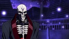 「オーバーロードIII」第8話より。侵入者を相手にするアインズをアップで映したシーン。「骸骨が主人公っておかしくないですか?」というカルロの言葉も頷ける。
