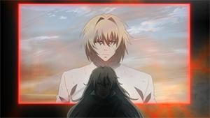 第9話より、光学映像で映し出されたレメディウスが憎悪を吐き出すシーン。彼がなぜそのような憎悪を抱えるに至ったのか、過去の回想を重ねて描かれる。