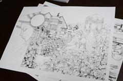 和久井専用の原稿用紙。左上には「和久井健 特製漫画原稿用紙」の文字が。