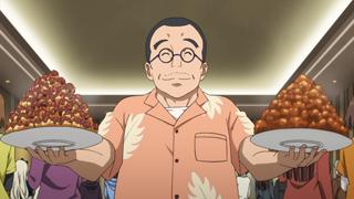 TVアニメ「SHIROBAKO」より、武蔵野アニメーションの丸川正人社長。現場を奔走する宮森たち社員に、いつもご飯を差し入れてくれる。