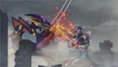 グリッドマンと怪獣の戦闘シーン。