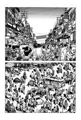 インドの街並み。びっちりと人や背景が描かれている。