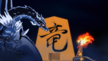 TVアニメ「転生したらスライムだった件」の「閑話:ヴェルドラ日記」より、ヴェルドラ(左)とイフリート(右)。