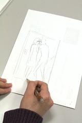 築島は回転壁ドンを使ったシチュエーションをその場で描いてくれた。