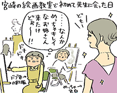 はるな檸檬が宮崎の絵画教室で、初めて東村アキコに出会った日の図。イラストははるなの描き下ろし。