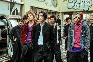 「HiGH&LOW THE WORST」より、前列左から龍演じる芝マン、前田公輝演じる轟洋介、鈴木昂秀演じる辻。