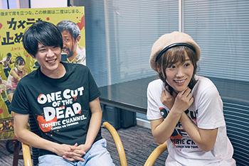 左から、イケメン俳優・神谷和明役の長屋和彰、アイドル女優・松本逢花役の秋山ゆずき。