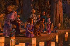 「KUBO/クボ 二本の弦の秘密」より、灯籠流しのシーン。村人たちの着物は1つひとつ違う柄になっている。