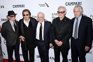 ニューヨーク映画祭でのワールドプレミアの様子。左からジョー・ペシ、アル・パチーノ、マーティン・スコセッシ、ハーヴェイ・カイテル、ロバート・デ・ニーロ。