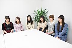 左から中西香菜、福田花音、田村芽実、勝田里奈、竹内朱莉、和田彩花。
