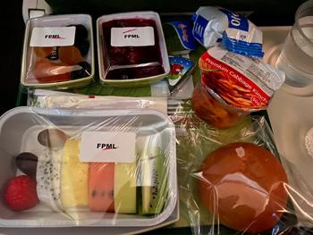 内田将綺のベジタリアン機内食。