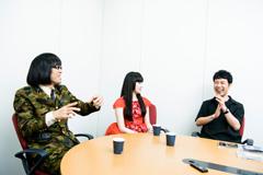 左から松永天馬(アーバンギャルド)、浜崎容子(アーバンギャルド)、藤井隆。