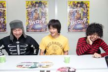 左から草壁まもる(B)、日々沼拓郎(G, Vo)、依田明(Dr)。
