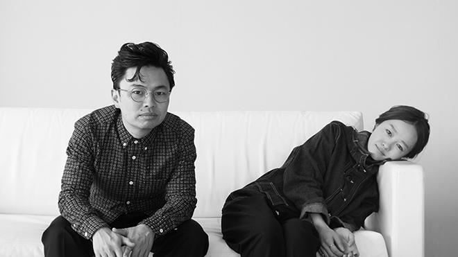 左から浜野謙太、NakamuraEmi。
