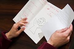 子供たちの言葉から生まれた前野の詞を書き留めたノート。