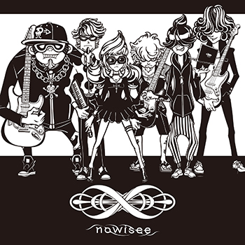 nowisee。左からAdd Fat(G)、Turtle 7th(Piano)、Strange Octave(Vo)、Minimum Root(G)、残酷 tone(Artwork)、Chotto Unison(B)。
