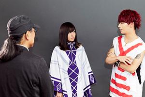 左から難波日登志監督、さユり、Hiro(MY FIRST STORY)。