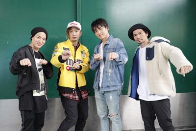 左からDAICHI、TOMO、KENZO、U-YEAH。振り付け指導を終え、SKE48メンバーの実力に太鼓判を押す。