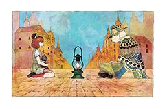 米津が描いたイラスト。タイトルは「犬と猫」。