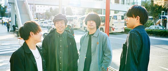 左から小野貴寛(Dr)、田中雄大(B)、黒川侑司(Vo, G)、古閑翔平(G)。