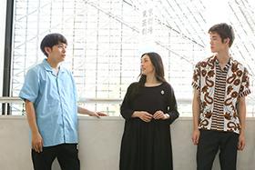左から藤田貴大、中嶋朋子、宮沢氷魚。